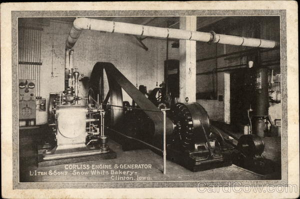 Corliss Engine and Generator, L-Iten & Sons. Snow White Bakery Clinton Iowa