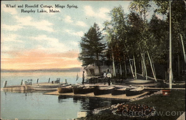 Wharf and Rosecliff Cottage, Mingo Spring Rangeley Lakes Maine