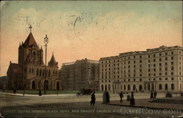 Copley Square, showing Plaza Hotel and Trinity Church Boston Massachusetts