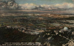 View of Pasadena and San Gabriel Valley from Summit of Mount Lowe Incline