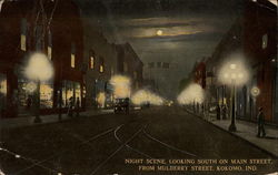 Night Scene looking South on Main Street from Mulberry Street
