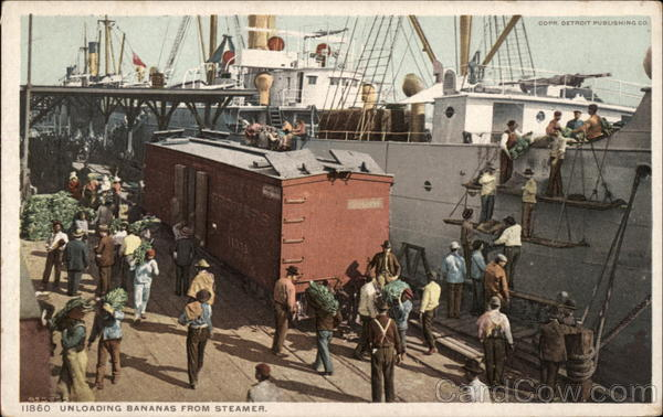 Unloading Bananas from Steamer Boats, Ships
