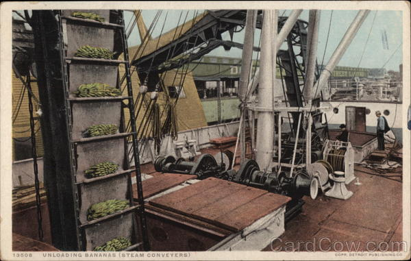 Unloading Bananas (Steam Conveyers) Boats, Ships