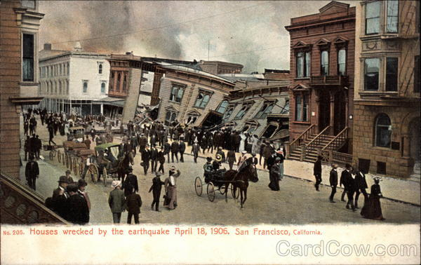 Houses Wrecked by the Earthquake April 18, 1906 San Francisco California