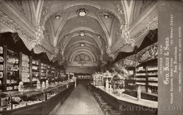 Interior View Geo. Haas & Sons Phelan Building Candy Store San Francisco California