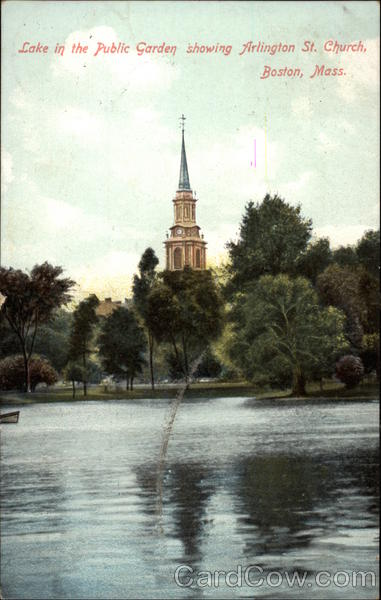 Lake in the Public Garden showing Arlington St. Church Boston Massachusetts
