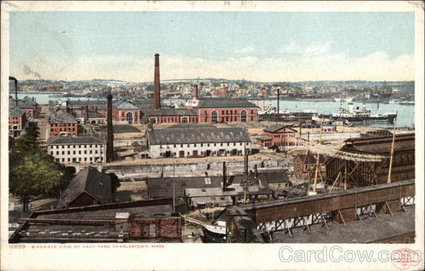 Bird's Eye-View of Navy Yard Charlestown Massachusetts