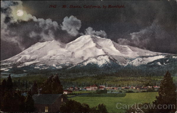 1942 - Mt. Shasta, California, by Moonlight Mount Shasta