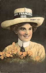 Woman Wearing San Francisco Exposition Hat 1915