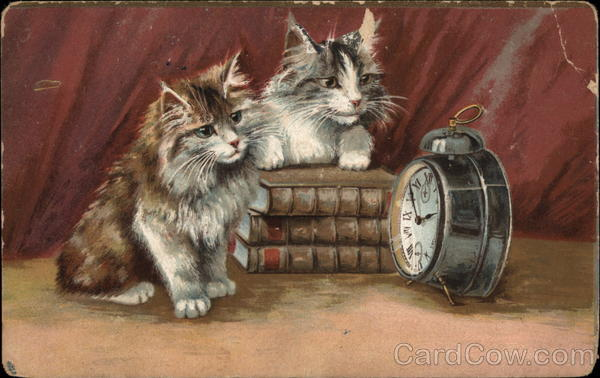 Two kittens looking at an alarm clock Maurice Boulanger