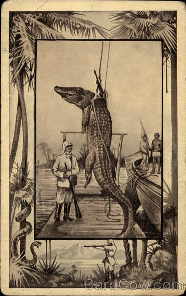 British Man with Caught Crocodile Alligators