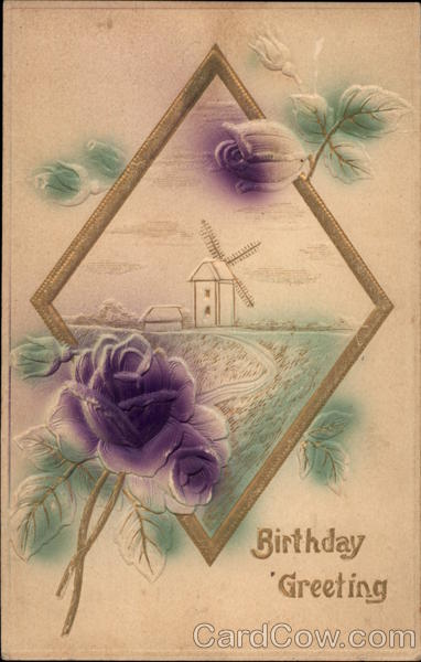 Birthday Greeting, with Windmill and Flowers Airbrushed
