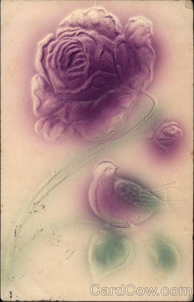 Rose and Bird in Purple and Green Airbrushed