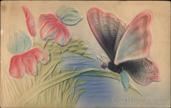 Colourful butterfly sitting on a flower Airbrushed
