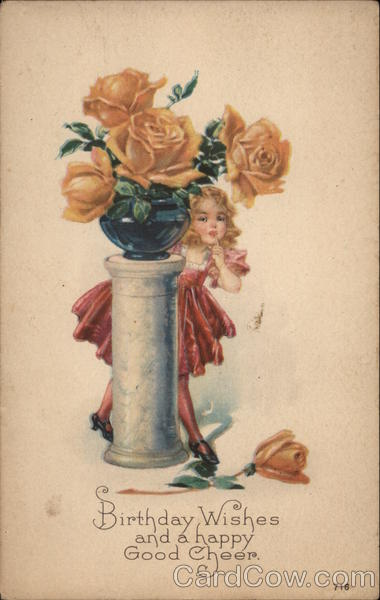 Girl Peeking out from Behind Pedestal with Vase of Large Yellow Roses