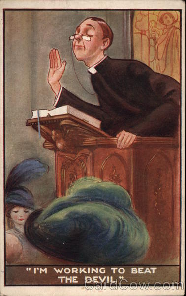Priest wearing spectacles at the pulpit Vintage Post Card