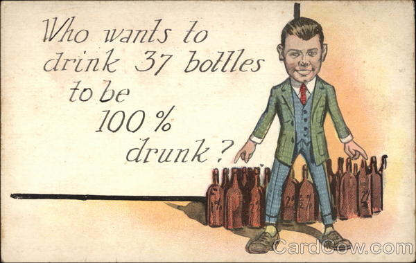 Who Wants To Drink 37 Bottles To Be 100% Drunk ? Vintage Postcard