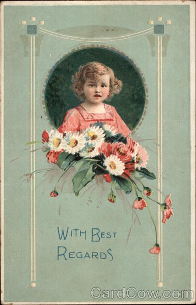 Little Girl Holds Bouquet of Flowers Girls