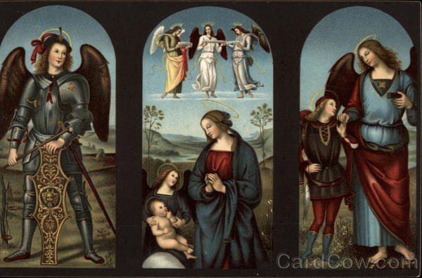 Archangel Michael. The Virgin and Child, Raphael and Tobias