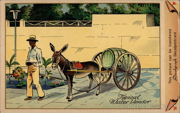 Man with Donkey-Pulled Water Cart