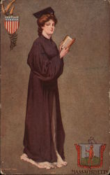 Woman in graduation gown; Massachusetts
