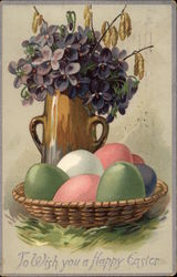 Easter Greetings, with Colored Eggs and Lilacs