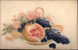 Plate of Fruit and Flowers