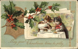 Chirstmas Greetings, with Cats Enjoying Tea