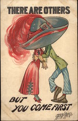 Couple Kissing Under Huge Hat With Plume Postcard