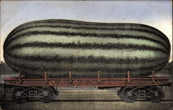 Large Watermelon on a Railroad Car