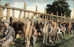 A row of men milking cows by a fence