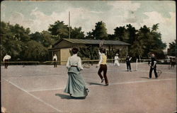 Men and a Woman Playing Tennis