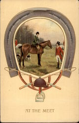 Equestrian Scene (Woman on Horse and Man in Hunting Gear) with Horseshoe Frame