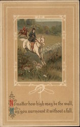 Woman on White Horse Jumps Over a Wall