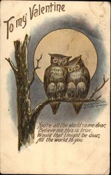 Two owls sitting on a tree branch with the moon behind them