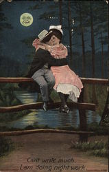 Couple Kissing on Fence in the Moonlight
