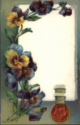 Purple Pansies with Scroll
