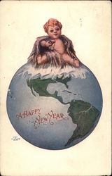 New Year's Baby Sitting on a Globe