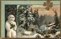 Winter Scene with Snowman and Clover