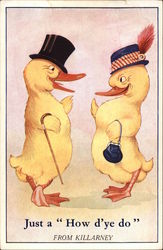 Two Yellow Ducks in Hats
