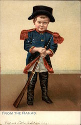 Little Boy in Military Uniform with Rifle