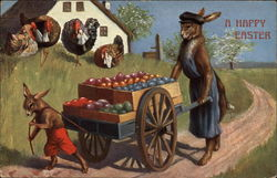 A Happy Easter, With Rabbits, Eggs, and Chickens Postcard