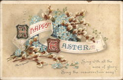 Happy Easter - Forget-me-nots and Pussy WIllow