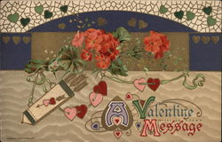 A Valentine Message, With Hearts and Flowers