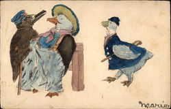 Ducks Dressed in Clothes with Walking Sticks