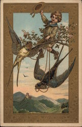 Boy in Tree with Swallows