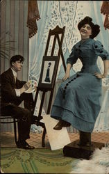 Man Painting Portrait of Woman in Blue Dress