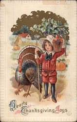 Thanksgiving Greeting, with Child and Turkey