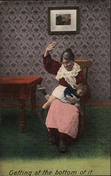 Mature woman sitting in a chair spanking a small child
