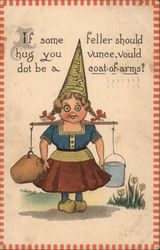 Dutch Girl With a Pointy Dunce Hat Carrying Jugs